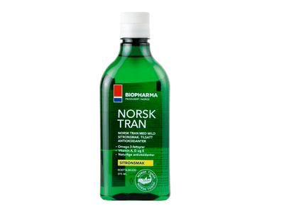Biopharma Nórsky rybí olej s prírodnou citrónovou príchuťou Norsk Tran 375 ml