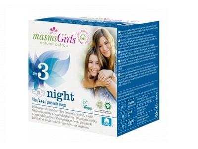 Ultratenké vložky Masmi GIRLS z BIO bavlny NIGHT 10ks