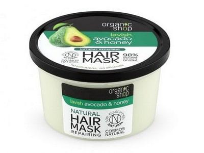 Organic Shop Maska pre okamžitú obnovu vlasov Med a Avokádo 250ml